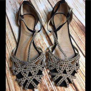 Authentic Zara Rhinestone Ankle Strap Ballet Flats